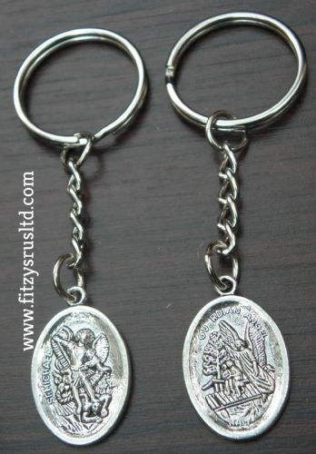 Guardian Angel St Michael Keyring Metal Saint Miguel Key Ring